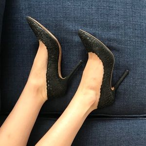 Black Flower Stiletto Heels